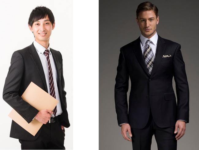 細スーツとマッチョスーツ